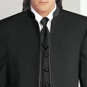 Black Mirage Mandarin Nerhu Banded Collar Tuxedo Jacket Western Costume Coat